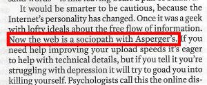 "screenshot of print edition of Time magazine highlighting the sentence, ""the web is a sociopath with Asperger's"""